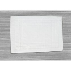 Frottír kádkilépő keretes mintás  fehér 50x70 cm