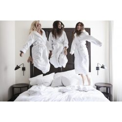 Fehér frottír köntös sálgalléros, L méret szállodai minőség
