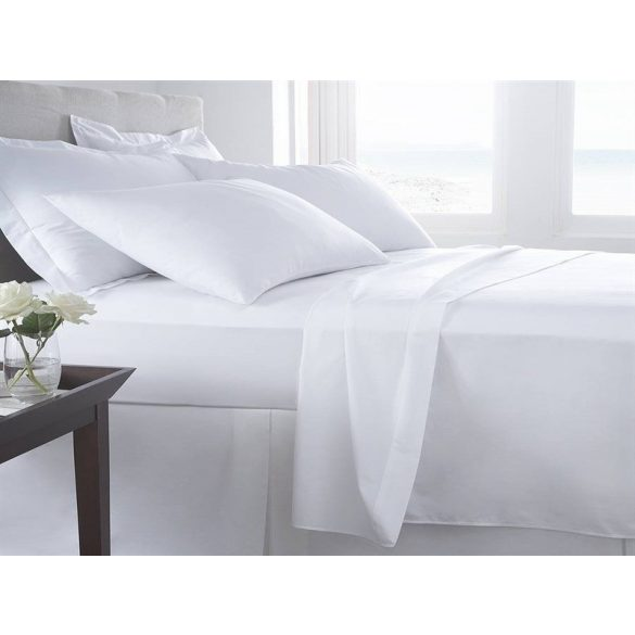 Fehér pamut vászonlepedő, 220 x 240 cm, (szállodai minőségű)