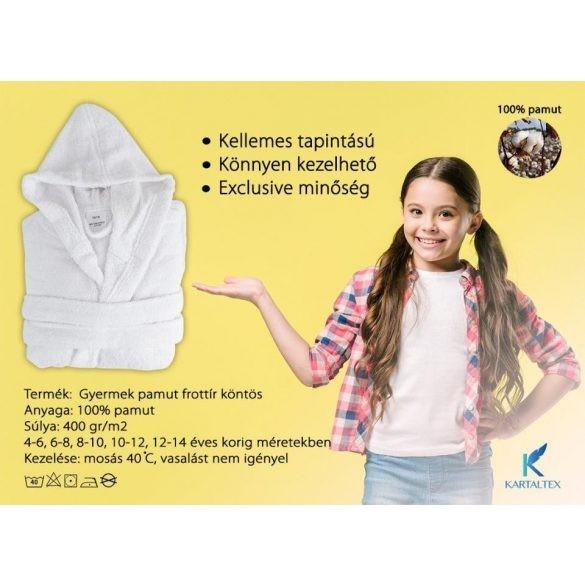 Fehér gyermek frottír kapucnis köntös, 10 - 12 éves korig