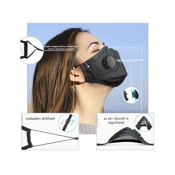 Textil maszk szűrő nélkül (légzéskönnyítő szeleppel, mosható)